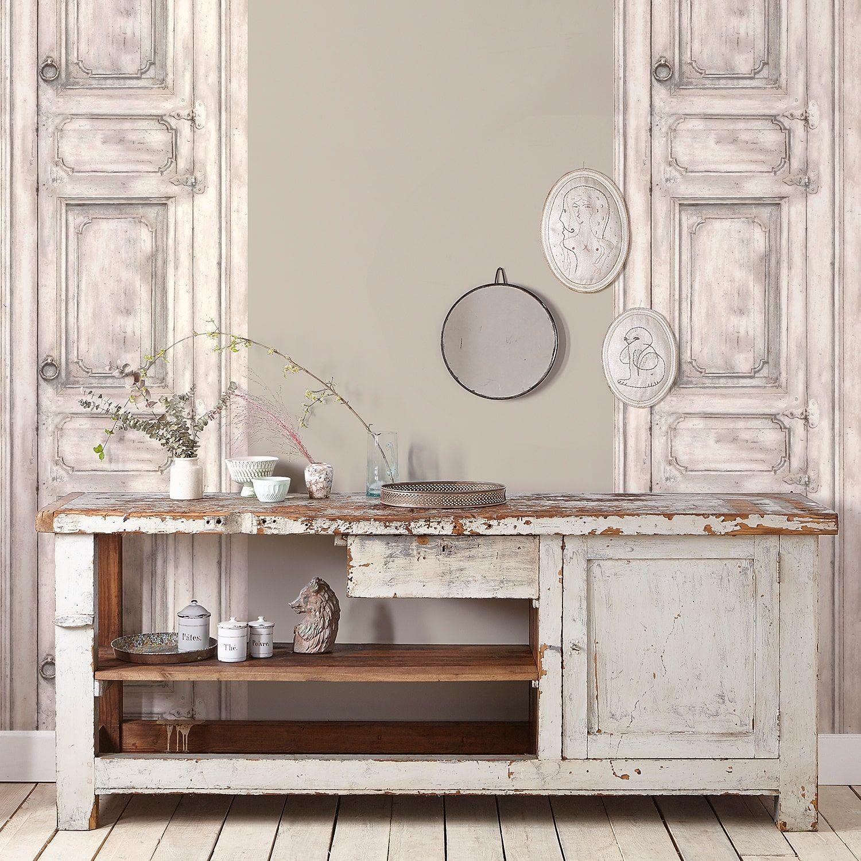 Papier Peint Porte Meuble Mouluree Blanc Casse