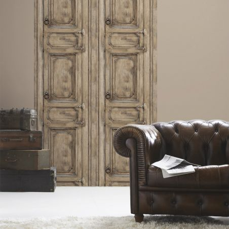 Brown molded furniture door wallpaper