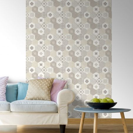 Beige hexagonal cement tile wallpaper