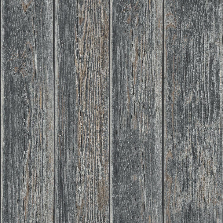 Papier peint bois de bardage vintage gris foncé