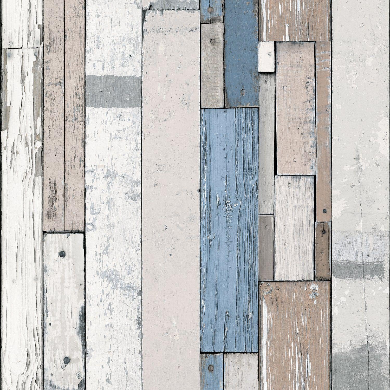 Papier Peint Bois De Palette Blanc Et Bleu