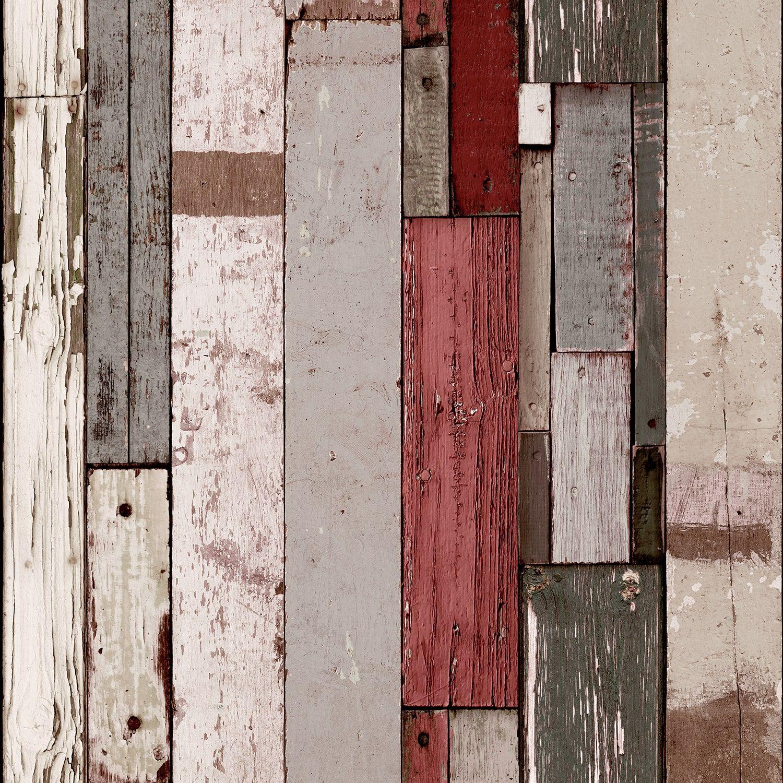 Papier Peint Bois De Palette Gris Et Rouge