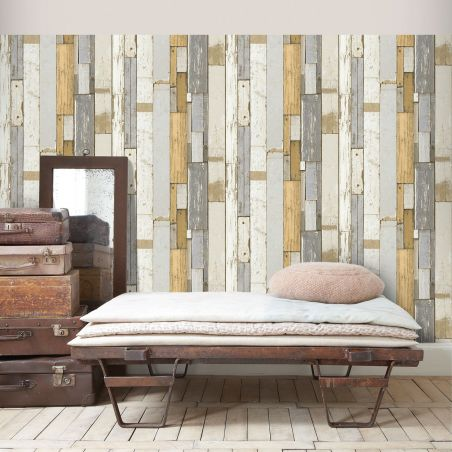 Grey and orange pallet wood wallpaper