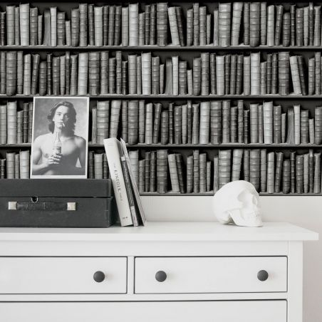 Papier peint bibliothèque noire et blanche