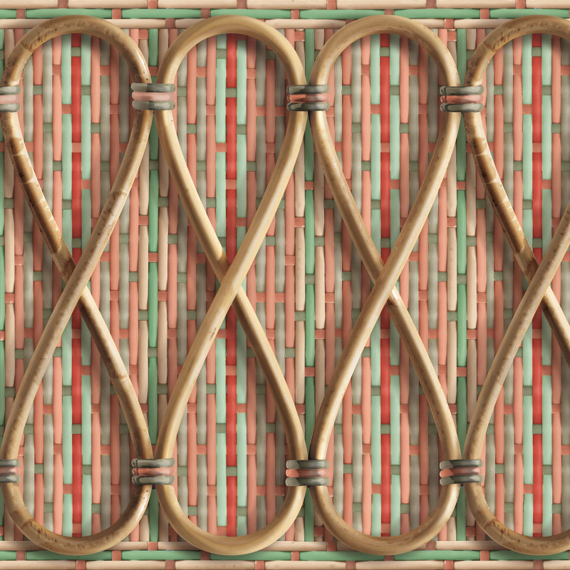 Philippe Model woven rattan frieze with pink stripes