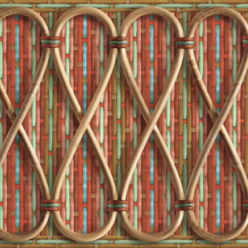 Frise rotin tressé Philippe Model rayée rouge et bleu