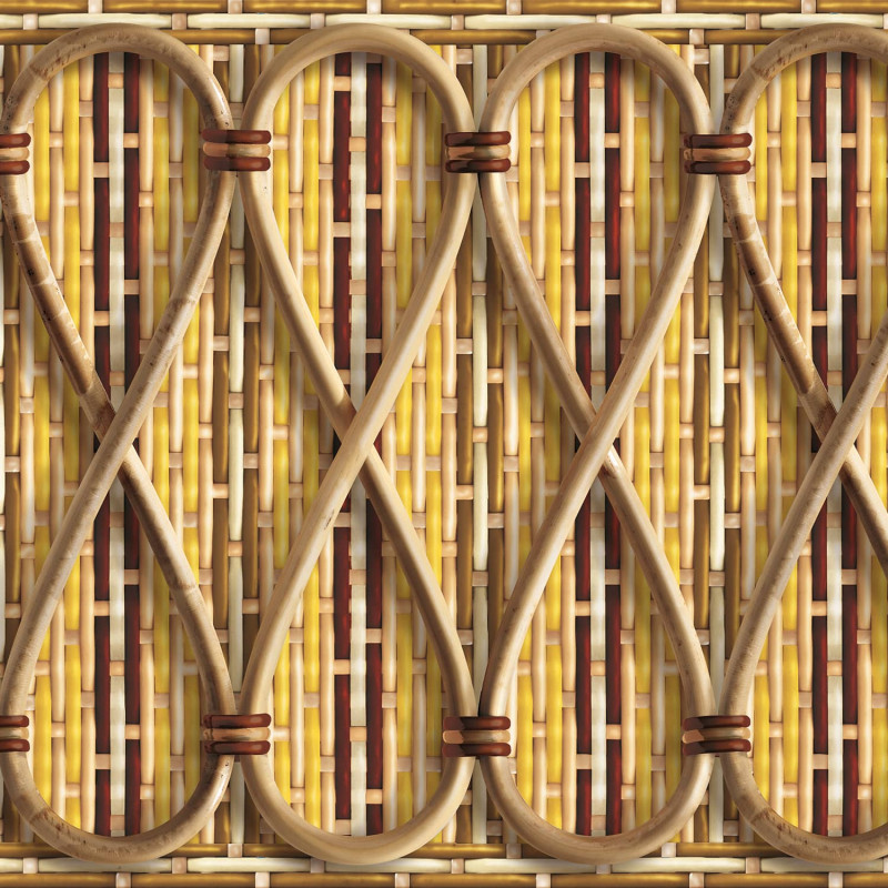 Philippe Model woven rattan frieze with yellow stripes