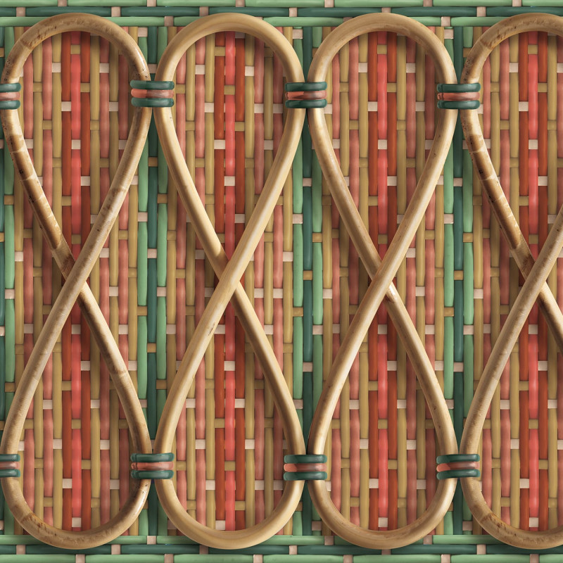Philippe Model woven rattan frieze with red and green stripes