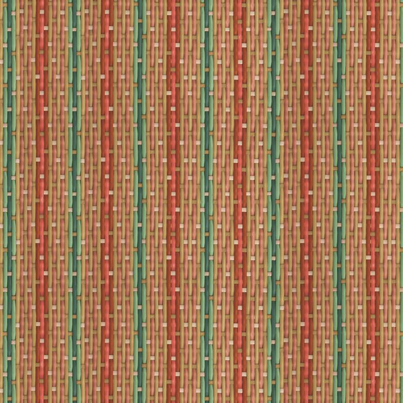 Papier peint tressé Philippe Model rayé rouge et vert