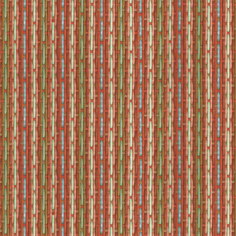 Papier peint tressé Philippe Model rayé rouge et bleu