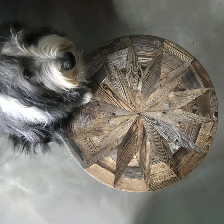 Antic wooden rosace vinyl round rug Rosa - Ø 66 cm
