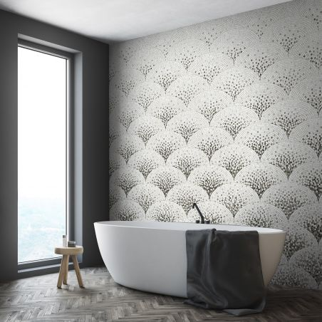 Black art deco mosaic wallpaper