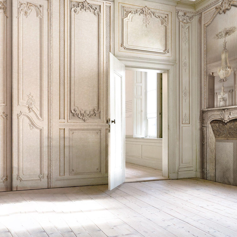 Papier Peint Effet Miroir décor boiserie haussmannienne cheminée et miroir 138cm