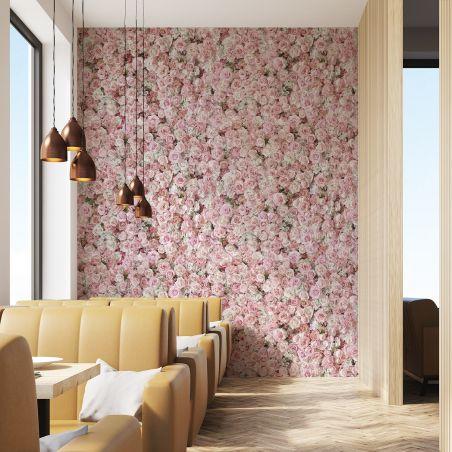Papier peint panoramique mur de roses