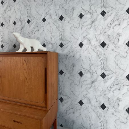 Cabochon white gray marble wallpaper