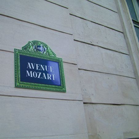 """Avenue Mozart"" French street sign prop"