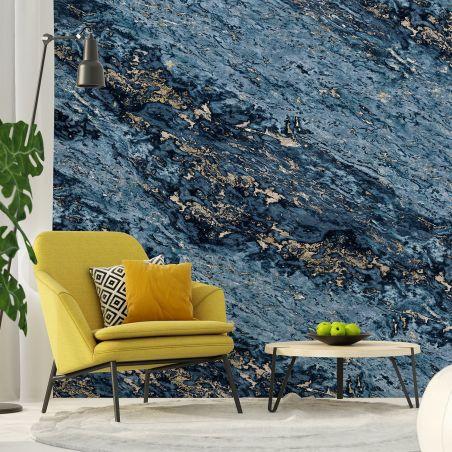 Papier peint panoramique marbre sarrancolin bleu marine & beige
