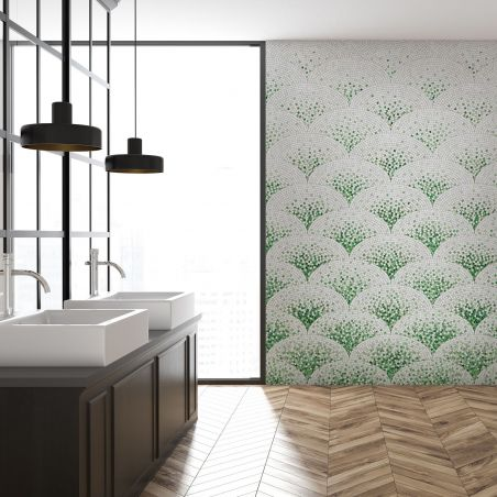 Green art deco mosaic wallpaper