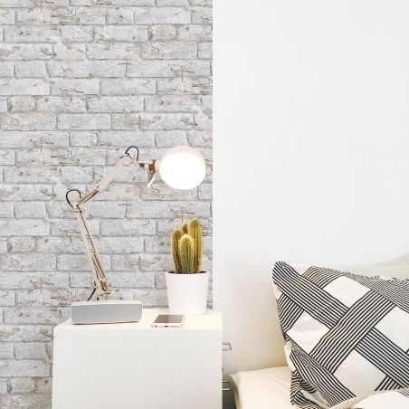 Antique painted bricks wallpaper - white