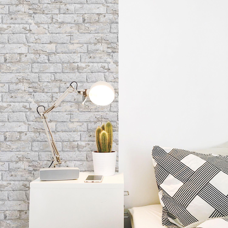 Papier Peint Briques écaillées Blanches