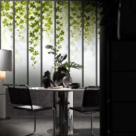 Panoramic wallpaper wide loft windows and ivy