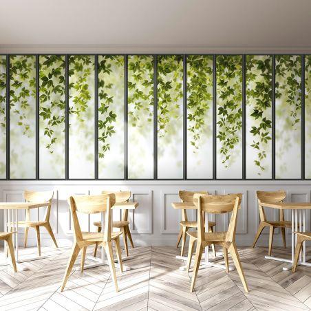 Panoramic wallpaper small loft windows and ivy