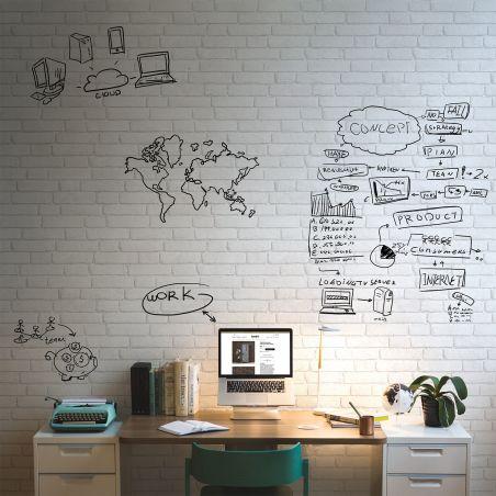 Papier peint effaçable briques blanches