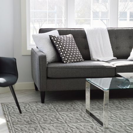 Mid grey antic tin tiles vinyl rug Alexa - Wide size