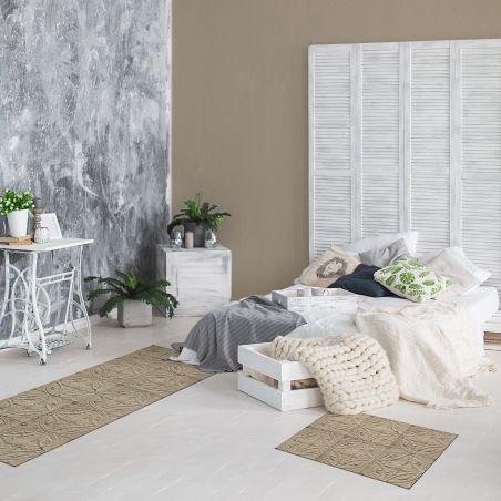 Beige antic tin tiles Vinyl rug Ava - runner size