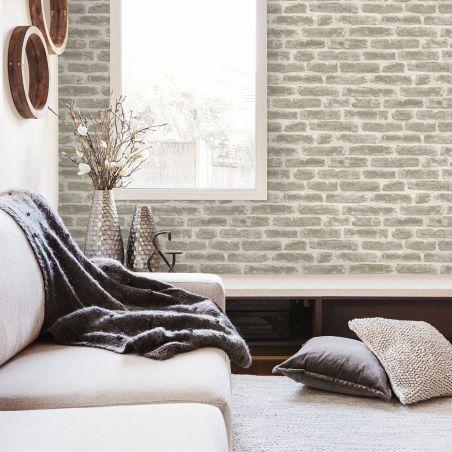 Papier peint briques urbaines - gris clair