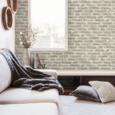 Urban brick wallpaper - light gray