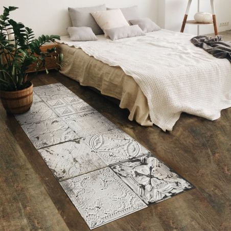 White Spirit antic tin tiles vinyl rug Kristina - Runner size