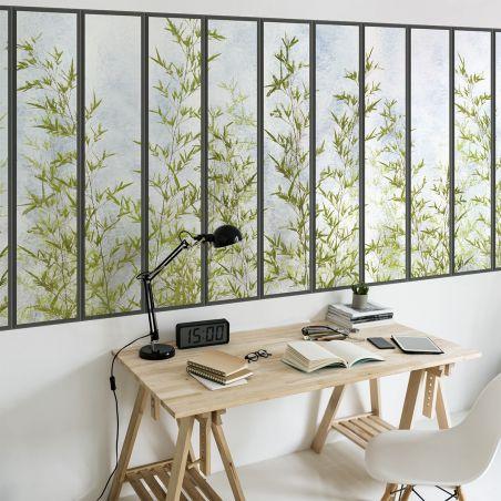 Panoramic wallpaper small loft windows and bamboos