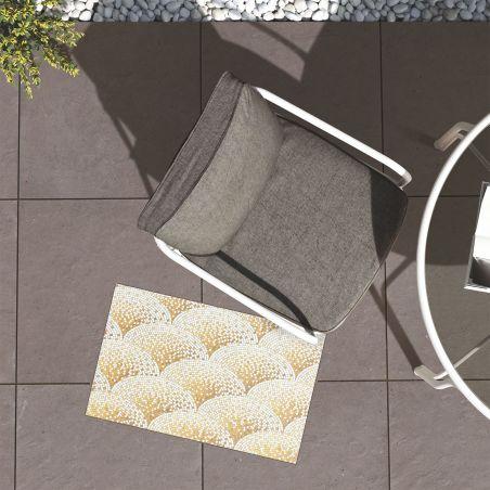 Golden mosaic Art Deco vinyl rug Anthea - runner size