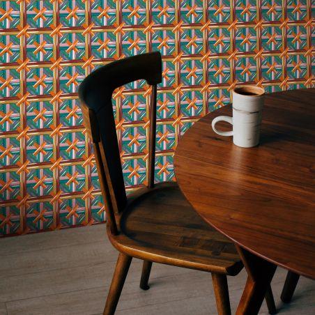 Papier peint cannage Philippe Model croix orange