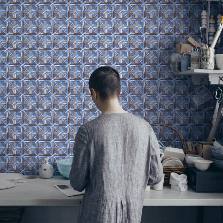 Blue steel caning cross wallpaper by Philippe Model