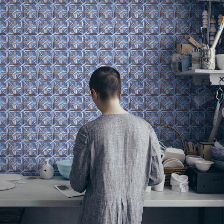 Papier peint tressé Philippe Model bleu platine