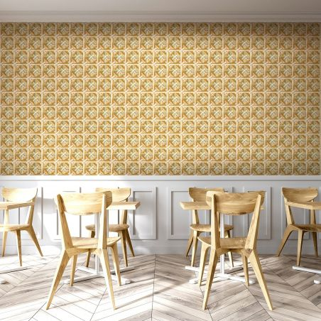 Beige caning cross wallpaper by Philippe Model