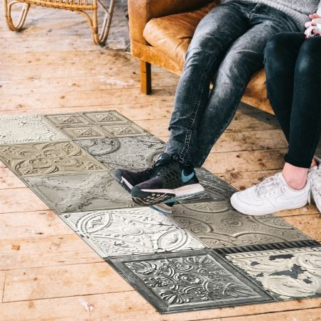 Patchwork antic tin tiles vinyl rug Mix Silvia - Runner size