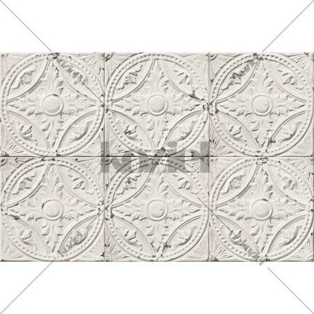 Off white antic tin tiles vinyl rug Amalia