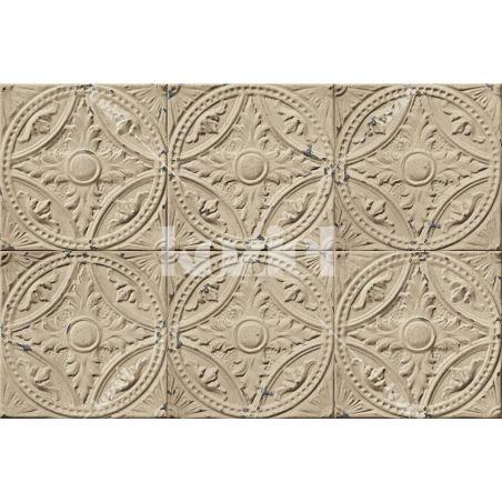 Tapis vinyle plaques victoriennes beige Ava