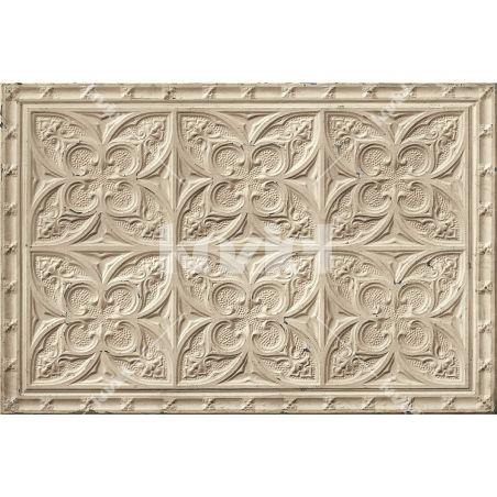Beige antic tin tiles vinyl rug Emilia