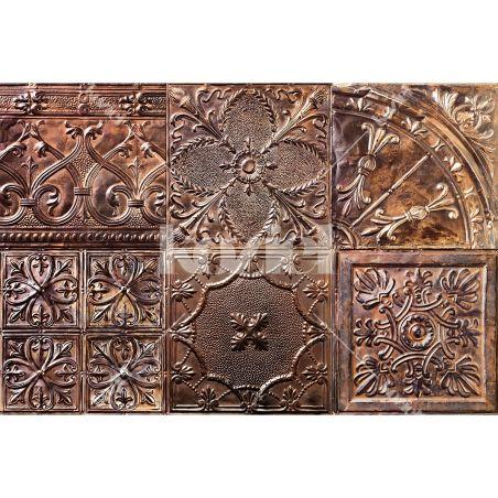 Copper spirit antic tin tiles vinyl rug Ella