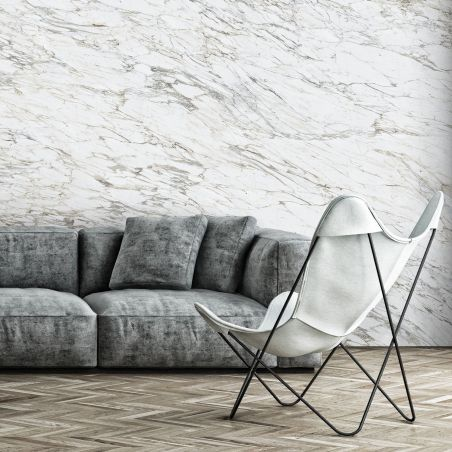 Beige gray arabescato marble panoramic mural