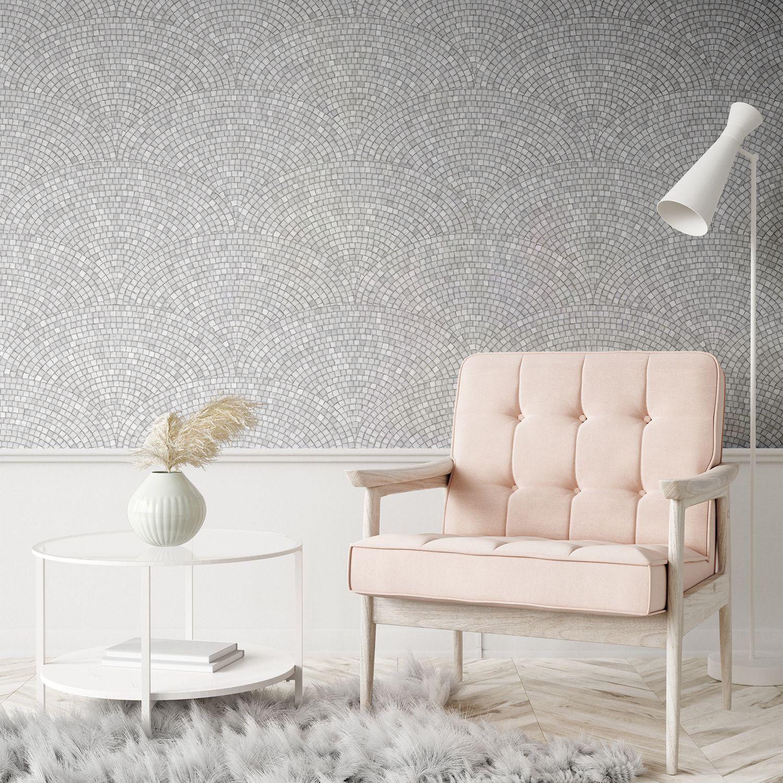 Light Grey Art Deco Mosaic Wallpaper
