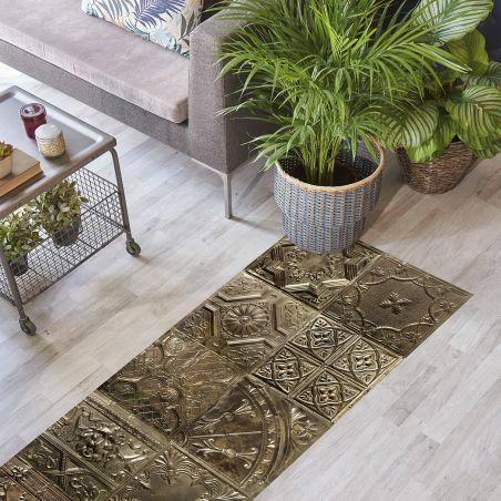 Bronze Spirit tin tiles vinyl rug Noella - Runner size