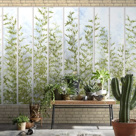 Panoramic wallpaper white wide loft windows and bamboos