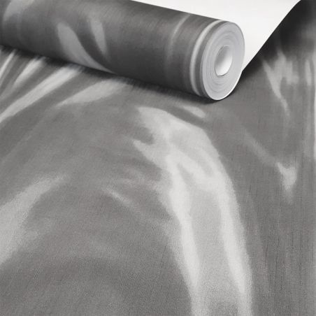 Draped Draped Pleated satin grey wallpaper - Outlet
