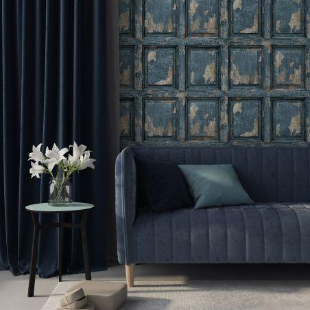 English antique wood paneling wallpaper - gray blue