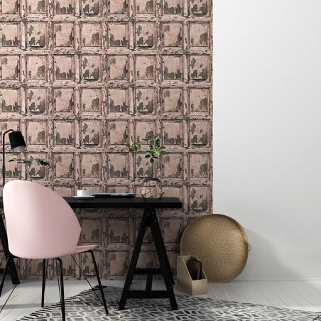 English antique wood paneling wallpaper - old rose